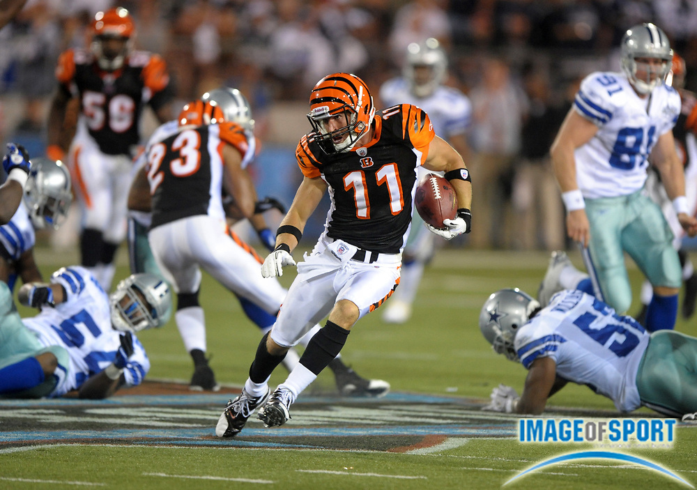 Aug 8, 2010; Canton, OH, USA; Cincinnati Bengals rookie receiver Jordan Shipley (11) heads up field on a 63-yard kickoff return during the fourth quarter of a preseason game against the Dallas Cowboys at Fawcett Stadium. The Cowboys defeated the Bengals 16-7.  Photo by Image of Sport