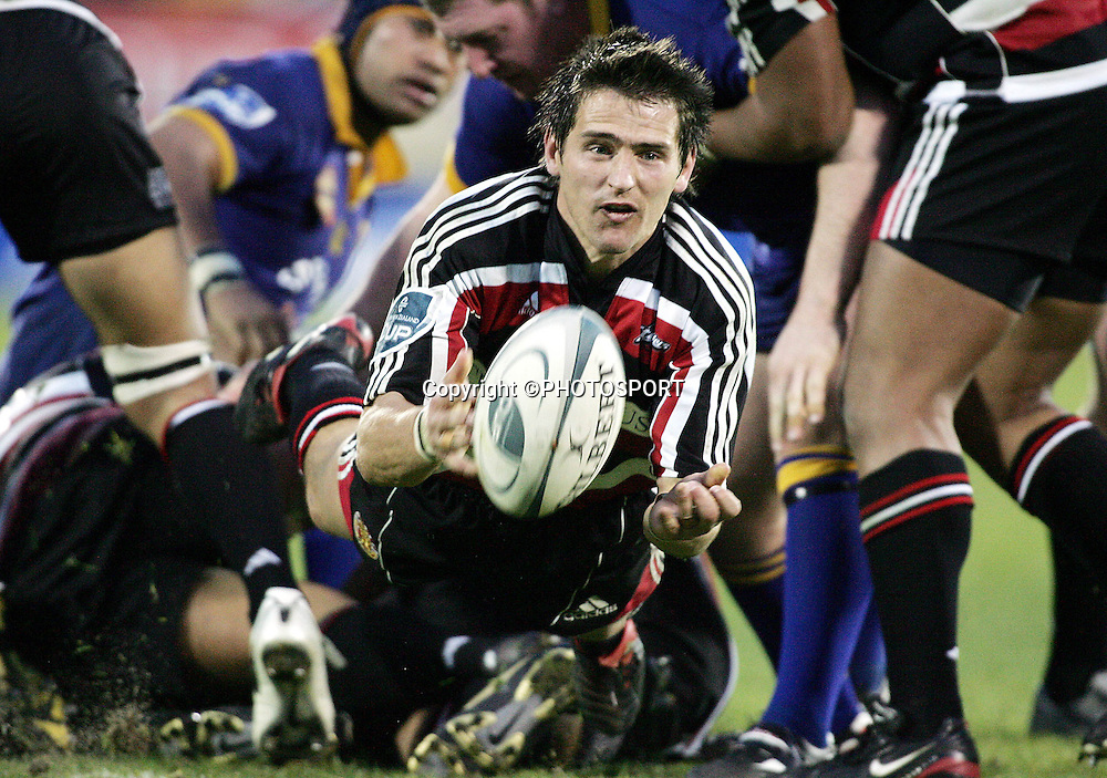 Counties Captain and halfback Ben Meyer clears the ball during the round one Air NZ Cup rugby union match between Counties Manukau and Otago at Mt Smart Stadium, Auckland, on Saturday 29 July 2006. Photo: Andrew Cornaga/PHOTOSPORT<br /><br /><br />290706