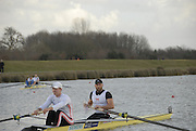 Eton, GREAT BRITAIN,  Alex PARTRIDGE (bow), and Alex GREGORY (stroke), M2-,  prepare for the Start, GB Trials 3rd Winter assessment at,  Eton Rowing Centre, venue for the 2012 Olympic Rowing Regatta, Trials cut short due to weather conditions forecast for the second day Sunday  13/02/2011   [Photo, Karon Phillips/Intersport-Images]