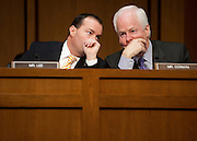 "Feb 2, 2011 - Washington, District of Columbia, U.S. - Senator MIKE LEE (R-UT) talks with Senator JOHN CORNYN (R-TX) during a Senate Judiciary Committee  hearing on ""The Constitutionality of the Affordable Care Act."".(Credit Image: © Pete Marovich/ZUMA Press)"