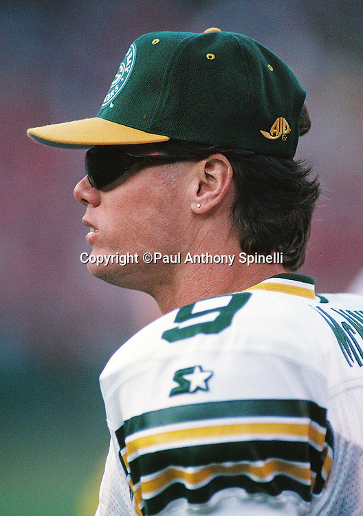 Green Bay Packers quarterback Jim McMahon (9) looks on from the sideline during the NFL NFC Divisional Playoff football game against the San Francisco 49ers on Jan. 6, 1996 in San Francisco. The Packers won the game 27-17. (©Paul Anthony Spinelli)