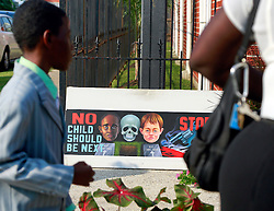 14 September 2013. Prayer Tower Church of God in Christ. New Orleans, Louisiana. <br /> Funeral for 11 yr old Arabian 'Ray Ray' Gayles, fatally shot September 2nd. Arabian was cradling a 1 yr old cousin whilst sat on the couch at home when gunmen pulled up outside and sprayed the house with bullets. Arabian was hit in the head and dies shortly afterwards. NOPD is questioning 2 men in connection with the murder.<br /> Photo; Charlie Varley