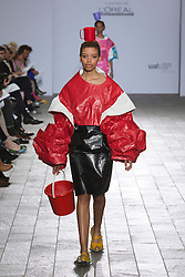 © Licensed to London News Pictures. 28/05/2013. London, England. FDM collection by Narae Park. Central St Martins BA Fashion show with collections by graduate fashion students. Photo credit: Bettina Strenske/LNP