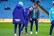 Leeds United midfielder Kalvin Phillips (23) and Leeds United defender Gjanni Alioski (10) arrives at the ground during the EFL Sky Bet Championship match between Leeds United and Bristol City at Elland Road, Leeds, England on 15 February 2020.