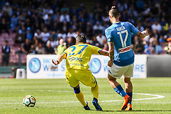 April 8, 2018 - Naples, Italy - Fabio Depaoli (Chievo Verona) AND Marek Hamsik (SSC Napoli)..during the Italian Serie A football SSC Napoli v Chievo Verona at S. Paolo Stadium..in Naples on April 08, 2018  (Credit Image: © Paolo Manzo/NurPhoto via ZUMA Press)