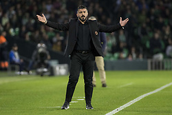 November 8, 2018 - Seville, Spain - GENNARO GATTUSO, head coach of Milane, laments   during the Europa League Group F soccer match between Real Betis and AC Milan at the Benito Villamarin Stadium (Credit Image: © Daniel Gonzalez Acuna/ZUMA Wire)