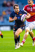 Nic Groom (#9) of Edinburgh Rugby runs at the Agen defence during the European Rugby Challenge Cup match between Edinburgh Rugby and SU Agen at BT Murrayfield, Edinburgh, Scotland on 18 January 2020.