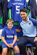 AFC Wimbledon defender Will Nightingale (5), Mascot during the EFL Sky Bet League 1 match between AFC Wimbledon and Bristol Rovers at the Cherry Red Records Stadium, Kingston, England on 21 September 2019.