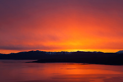 """Sunset at Lake Tahoe 30"" - Photograph of a orange and yellow sunset at Lake Tahoe, shot from near the fire lookout above Crystal Bay."