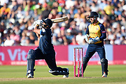 Ravi Rampaul of Derbyshire Falcons hits a six off the bowling of Simon Harmer during the Vitality T20 Finals Day 2019 match between Derbyshire Falcons and Essex Eagles at Edgbaston, Birmingham, United Kingdom on 21 September 2019.