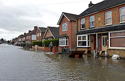 A general view of South Avenue, in Egham, Surrey which has been badly affected by flooding, United Kingdom, Wednesday 12th February 2014. Picture by David Dyson / i-Images