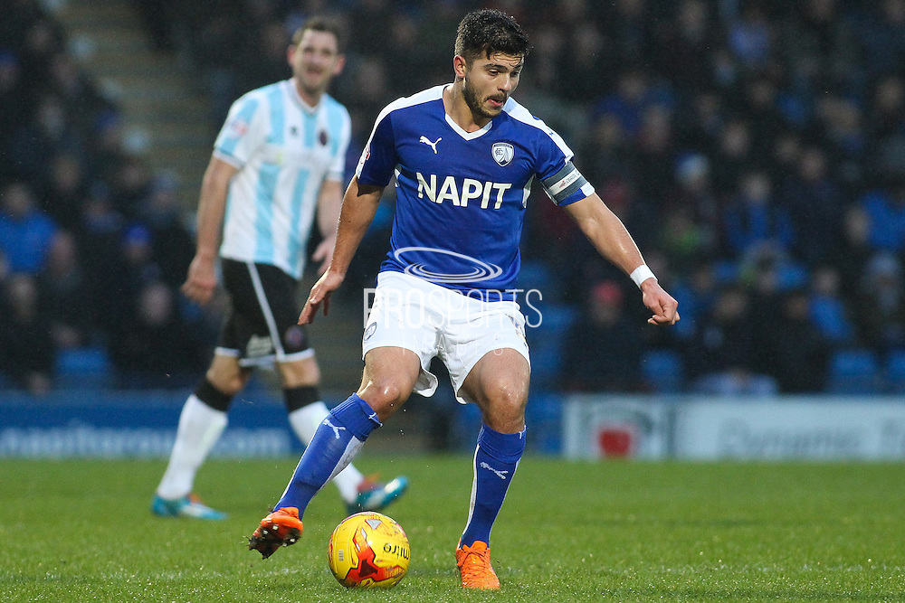 Chesterfield FC midfielder Sam Morsy on the ball during the Sky Bet League 1 match between Chesterfield and Shrewsbury Town at the Proact stadium, Chesterfield, England on 2 January 2016. Photo by Aaron Lupton.