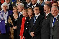 09 JAN 2007, BERLIN/GERMANY:<br /> Mariann Fischer Boel, EU Kommissarin fuer Landwirtschaft, Margot Wallstroem, Vizepraesidentin der EU Kommission und Komissarin fuer Institutionelle Beziehungen und Kommunikationsstrategie, Frank-Walter Steinmeier, SPD, Bundesaussenminister, Benita Ferrero-Waldner, EU Kommissarin fuer Aussenbeziehungen und europ. Nachbarschaftspolitik, Angela Merkel, CDU, Bundeskanzlerin, Dr. Jose Manuel Barroso, Praesident der EU Kommission, Siim Kallas, Vizepraesident der EU Kommission und EU Kommissar fuer Verwaltung und Guenter Verheugen, Vizepraesident der EU Kommission und EU Kommissar fuer Unternehmen und Industrie, (v.L.n.R.), waehrend einem Gruppenfoto nach der gemeinsamen Kabinettsitzung des Bundeskabinetts und der Kommission der Europaeischen Kommission, Bundeskanzleramt<br /> IMAGE: 20070109-02-017<br /> KEYWORDS: Margot Wallström, Familienfoto