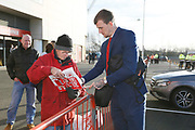 Middlesbrough defender Aden Flint (24) signing autographs during the EFL Sky Bet Championship match between Middlesbrough and Ipswich Town at the Riverside Stadium, Middlesbrough, England on 29 December 2018.