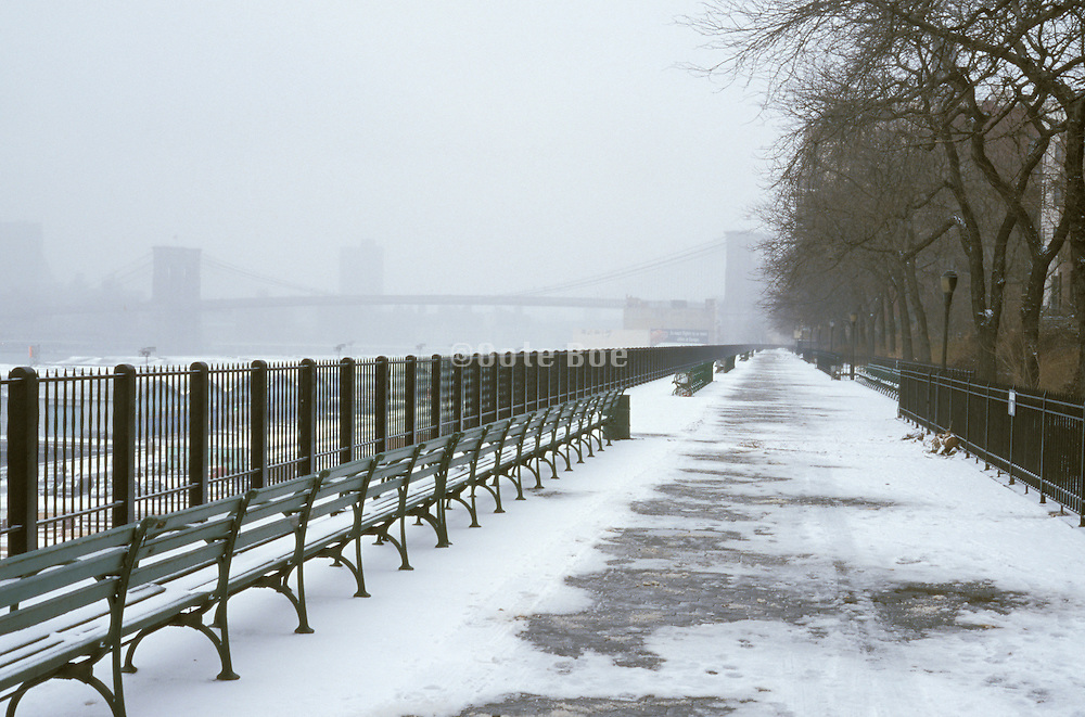 snow covered benches by city waterfront