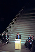 Nobel Peace Laureate Elie Wiesel and Founding Chairman of the US Holocaust Memorial Council speaks during the opening ceremony for the Conference on Holocaust-Era Assets at the US Holocaust Museum November 30, 1998 in Washington, DC.