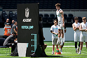 Academy student athletes try out today during the NFL Academy Stadium Showcase (vertical jump) during the NFL Media Day held at Tottenham Hotspur Stadium, London, United Kingdom on 2 July 2019.