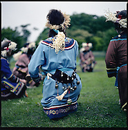 """Ethnic Japanese residents of Hokkaido wear costumes inspired by Ainu and so-called """"Hoppo"""" peoples (northern peoples) including the Gilyak who come from Sakhalin Island and used to live on the north coast of Hokkaido."""