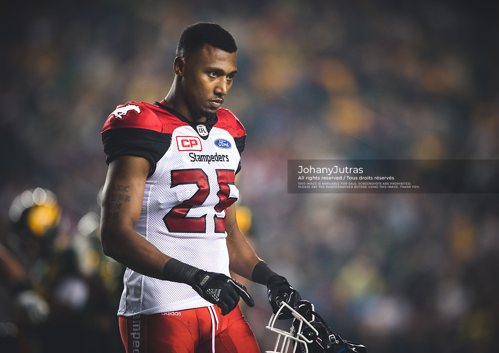 Tommie Campbell (25) of the Calgary Stampeders during the game against the Edmonton Eskimos at Commonwealth Stadium in Edmonton AB, Saturday, September 9, 2017. (Photo: Johany Jutras)