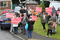 © Licensed to London News Pictures. 06/06/2017. Shildon UK. Protest's outside Foreign Secretary Boris Johnson speech today on the General Election campaign at Shildon Civic Hall in County Durham. Photo credit: Andrew McCaren/LNP
