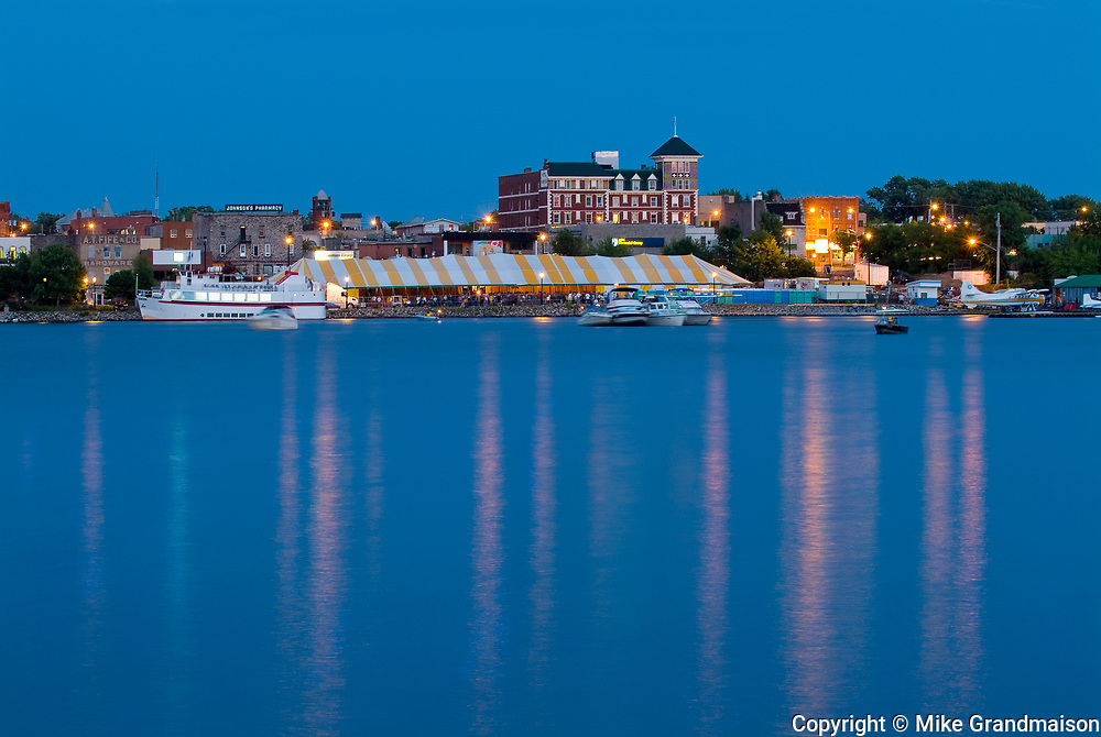 Townsite of Kenora on Lake of the Woods at dusk <br />Kenora<br />Ontario<br />Canada