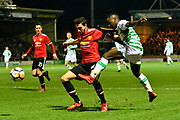 Jordan Green (15) of Yeovil Town crosses the ball past Matteo Darmian (36) of Manchester United during the The FA Cup 4th round match between Yeovil Town and Manchester United at Huish Park, Yeovil, England on 26 January 2018. Photo by Graham Hunt.