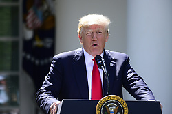 June 1, 2017 - Washington, District of Columbia, United States of America - United States President Donald J. Trump makes a statement  regarding the Paris Accord in the Rose Garden of the White House in Washington, DC on Thursday, June 1, 2017.  The President announced the US will withdraw from the accord..Credit: Ron Sachs / CNP (Credit Image: © Ron Sachs/CNP via ZUMA Wire)