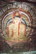Buddha figure mural inside Dambulla cave Buddhist temple complex, Sri Lanka, Asia