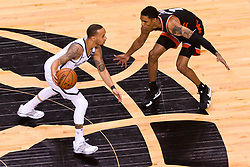February 11, 2019 - Toronto, Ontario, Canada - Shabazz Napier #13 of the Brooklyn Nets (L) and Patrick Mc Caw #1 of the Toronto Raptors (R) in action during the Toronto Raptors vs Brooklyn Nets NBA regular season game at Scotiabank Arena on February 11, 2019, in Toronto, Canada (Toronto Raptors win 127-125) (Credit Image: © Anatoliy Cherkasov/NurPhoto via ZUMA Press)