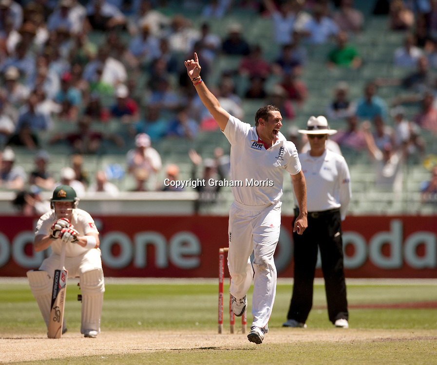 Bowler Tim Bresnan celebrates the win during the fourth Ashes test match between Australia and England at the MCG in Melbourne, Australia. Photo: Graham Morris (Tel: +44(0)20 8969 4192 Email: sales@cricketpix.com) 29/12/10