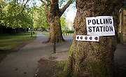UNITED KINGDOM, London: 7 May 2015,  A polling station sign in Barnes is photographed as polling starts for the 2015 Election, London, England. Andrew Cowie / Story Picture Agency