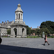 The courtyard of Trinity College showing the The Campanile. Trinity College, Dublin. (Irish: Coláiste na Tríonóide), formally known as the College of the Holy and Undivided Trinity of Queen Elizabeth near Dublin, is the sole constituent college of the University of Dublin in Ireland. The college was founded in 1592. It is one of the seven ancient universities of Britain and Ireland, as well as Ireland's oldest university. Dublin, Ireland. Photo Tim Clayton