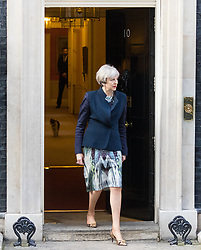 Downing Street, London, March 27th 2017. British Prime Minister Theresa May welcomes the Prime Minister of Qatar Abdullah bin Nasser bin Khalifa Al Thani to 10 Downing Street for talks. <br /> <br /> CREDIT: &copy;Paul Davey<br /> FOR LICENCING CONTACT: Paul Davey +44 (0) 7966 016 296 paul@pauldaveycreative.co.uk