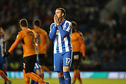 Brighton & Hove Albion centre forward Glenn Murray (17) looks frustrated, looks dejected during the EFL Sky Bet Championship match between Brighton and Hove Albion and Wolverhampton Wanderers at the American Express Community Stadium, Brighton and Hove, England on 18 October 2016.