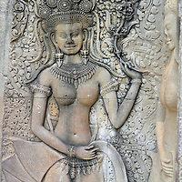 Devatas Carvings at Angkor Wat in Angkor Archaeological Park, Cambodia<br />