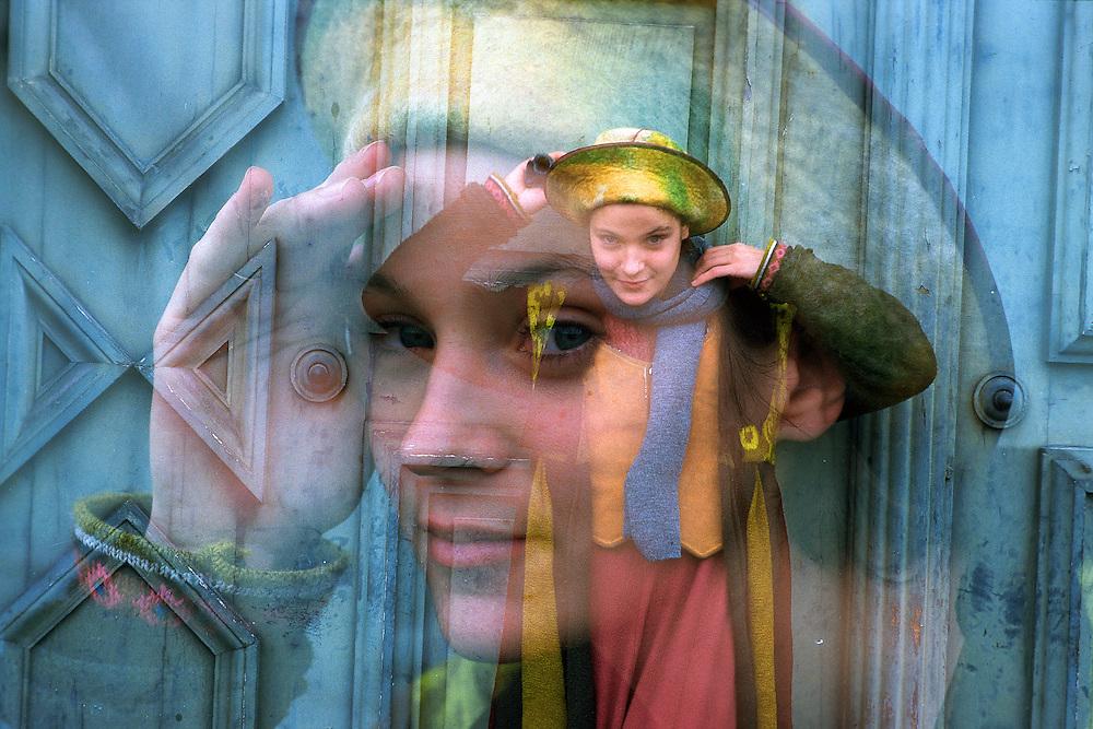 German actress Jeanette Hain in Munich, Germany, 1998..accidental double exposure on slide film..© Stefan Falke