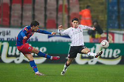 BUCHAREST, ROMANIA - Thursday, December 2, 2010: Liverpool's Dani Pacheco in action against FC Steaua Bucuresti during the UEFA Europa League Group K match at the Stadionul Steaua. (Pic by: David Rawcliffe/Propaganda)