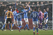 Macclesfield celebrate Crewe Alexandra midfielder Paul Green own goal  during the EFL Sky Bet League 2 match between Macclesfield Town and Crewe Alexandra at Moss Rose, Macclesfield, United Kingdom on 21 January 2020.