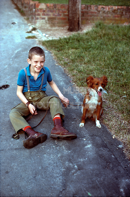 Neville with his dog, Hawthorne Road, High Wycombe, UK, 1980s.