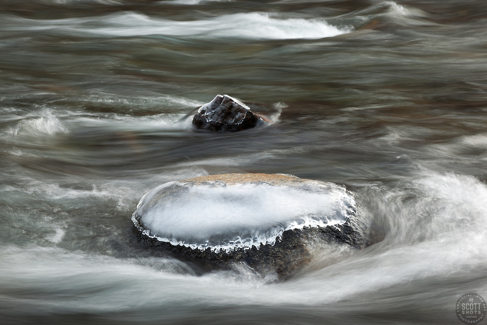 """Icy Rock in the Truckee River"" - This ice covered rock was photographed in the Truckee River."