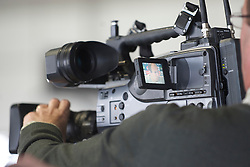 MADRID, SPAIN - Tuesday, February 24, 2009: An image of Real Madrid's Arjen Robben captured on a television camera during a press conference at the Ciudad Deportiva ahead of the UEFA Champions League First Knock-Out Round against Liverpool. (Photo by David Rawcliffe/Propaganda)