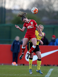 Chloe Arthur of Bristol City Women beats Maddy Cusak of Aston Villa Ladies to a header - Mandatory by-line: Robbie Stephenson/JMP - 02/01/2012 - FOOTBALL - Stoke Gifford Stadium - Bristol, England - Bristol City Women v Aston Villa Ladies - FA Women's Super League 2