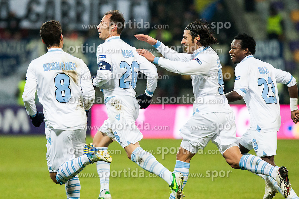 Players of S.S. Lazio Roma celebrates scoring a goal during football match between NK Maribor and S. S. Lazio Roma  (ITA) in 6th Round of Group Stage of UEFA Europa league 2013, on December 6, 2012 in Stadium Ljudski vrt, Maribor, Slovenia. (Photo By Gregor Krajncic / Sportida)