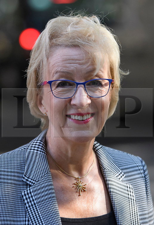 © Licensed to London News Pictures. 29/08/2019. London, UK. Former Leader of the House of Commons ANDREA LEADSOM is seen at Milbank Studio in Westminster. The government has asked the Queen to suspend Parliament in the days after MPs return to work in September - a few weeks before the Brexit deadline of October 31st. Photo credit: Ben Cawthra/LNP