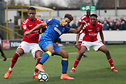 AFC Wimbledon striker Lyle Taylor (33) dribbling in the box during the The FA Cup match between AFC Wimbledon and Charlton Athletic at the Cherry Red Records Stadium, Kingston, England on 3 December 2017. Photo by Matthew Redman.