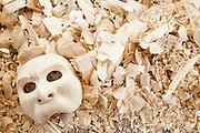 Dintorni di Ubud Bali 2015 - Maschere e trucioli fanno parte della stesso ciocco di legno di pule: si procede così per sottrazione fino ad ottenere la forma desiderata. Poi si comincia a levigare.
