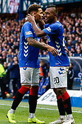 Alfredo Morelos of Rangers with his captain James Tavernier during the Ladbrokes Scottish Premiership match between Rangers and Motherwell at Ibrox, Glasgow, Scotland on Sunday 11th November 2018.
