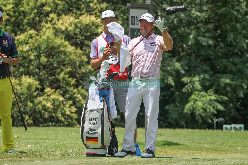 May 26, 2018 - Fort Worth, TX, U.S. - FORT WORTH, TX - MAY 26: Alex Cejka (GER) selects a club on the 9th tee during the third round of the Fort Worth Invitational on May 26, 2018 at Colonial Country Club in Fort Worth, TX. (Photo by George Walker/Icon Sportswire) (Credit Image: © George Walker/Icon SMI via ZUMA Press)