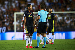 September 19, 2018 - Valencia, Spain - Cristiano Ronaldo talk whit referee Group H match of the UEFA Champions League between Valencia CF and Juventus at Mestalla Stadium on September 19, 2018 in Valencia, Spain. (Credit Image: © Jose Breton/NurPhoto/ZUMA Press)