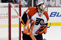 Oct 3, 2009; Newark, NJ, USA; Philadelphia Flyers goalie Ray Emery (29) makes a save during the second period at the Prudential Center.